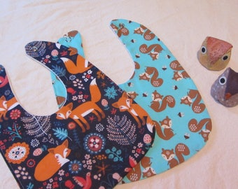 Fox Bib Set/Baby Fox Bib Set/New Born Gift/Baby Bib/Baby Shower Gift/Burping Bib