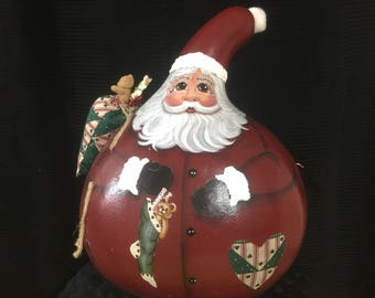 Jumbo, large Santa gourd. Hand painted, good vintage condition. 13 x 10 accross approximate.