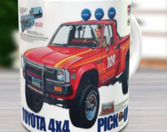 Hilux Coffee Mug with optional Keychain, Vintage Model, gift for hobby lover, RC Model Coffee Mug, Gift for Him, Radio Controlled Car