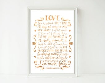 Real Foil Print -Love Is Patient Love Is Kind Corinthians, Scripture Christian, Kitchen, Home Decor Wall Art, Gold, Gopper, Silver