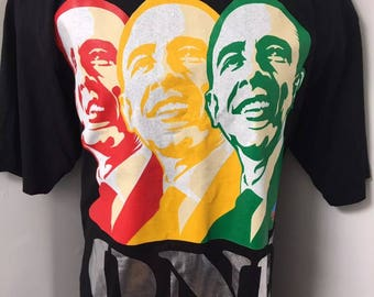 Mens Xl tall President Obama one love rasta political t shirt hip hop clothing at its finest