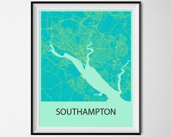 Southampton Map Poster Print - Blue and Yellow