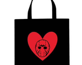 Friday the 13th Jason Voorhees Canvas Tote Bag Market Pouch Grocery Reusable Halloween Merch Massacre Black Friday Christmas