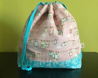 "Handmade drawstring bag / pouch for knitting crochet project 10.5"" x 8"" x 3.5"" *Laundry Cats*"