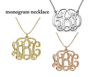Gold Monogram Necklace, Personalized Necklace, Personalized Monogram Jewelry, Personalized Jewelry, Bridesmaid Gift