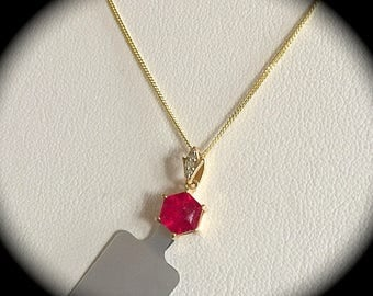 Genuine ruby pendant etsy 144ct genuine ruby pendant 9ct yellow gold certified exquisite mozeypictures Gallery