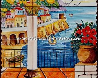 Vertical Backsplash Mural Tile View of Amalfi