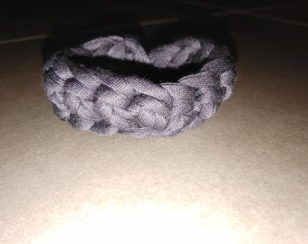 Bracelet gray crocheted recycled cotton