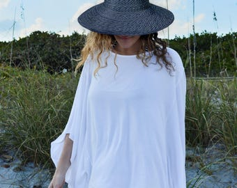 Off white Beach Coverup - off white Beach Poncho - off white Swimsuit cover up - Light weight Poncho - stylish poncho - Casual Poncho