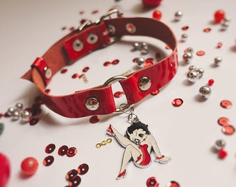 Betty Boop Necklace, Chocker, Leather Choker,  Pin Up Necklace, Handmade Leather Choker, Choker Necklace, Red Chocker, Leather Necklace