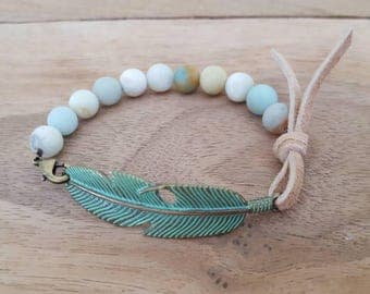 Amazonite, feather and suede bracelet