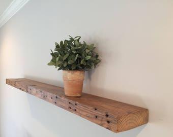 Floating Reclaimed Wood Shelf