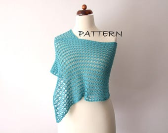 poncho pattern, knitting pattern for poncho, capelet how to, PDF, knitting tutorial, DIY