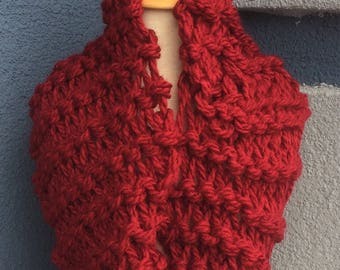 Bright red cowl with extra shine