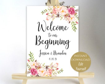 Welcome Wedding Sign Welcome to our Beginning Printable Welcome Sign Ceremony Poster Board DIY Instant Download PDF 8x10, 11x14, 18x24