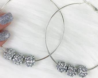 Silver Hoop Earrings, Hoop Earrings, Silver Jewelry, Round Earrings, Circle Earrings, Silver Jewelry, Womens Hoop Earrings, Bead Jewelry