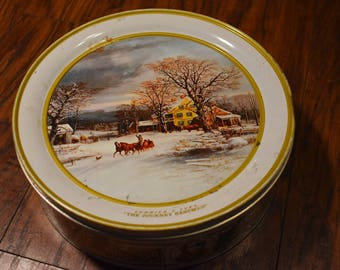 Vintage Currier and Ives collectible tin