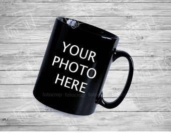 Personalized Black Coffee mug 11oz custom photo name text logo photo gift new ceramic