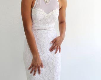 Vintage mermaid wedding dress unique illusion neckline xs petite beaded lace high neckline wedding gown