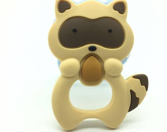 Brown---Silicone Raccoon Teether squirrel Teething Pendant Necklace BPA Free Baby Chew Toy Silicone Beads Cartoon Nursing Silicone