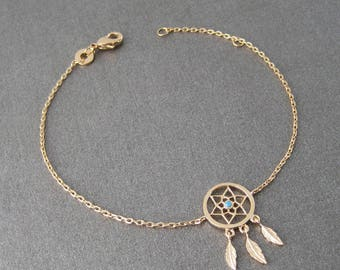 Dream catcher 750/000 gold plated dreamcatcher bracelet 18 k