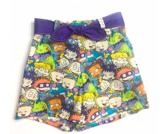 Rugrats, rugrats shorts, shorts, 90's, spring dress, baby girl clothes, birthday outfit, birthday outfit, spring outfit, photography prop