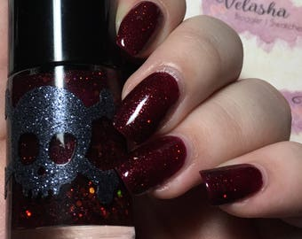 PIRATE'S CURSE- Summer California Dreaming Collection by Necessary Evil Polish : Burgandy base with gold & Copper Coins Glitter