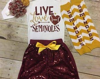 Live Love Seminoles, Seminoles Football, Burgundy and Gold, Girls Football Outfit, fsu, seminoles baby, fsu girls outfit, florida state