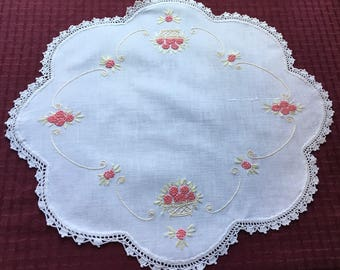 Vintage Hand Crafted Linen Doily with French Knot Baskets