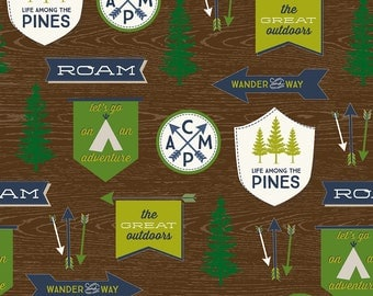 Riley Blake Camping Great Outdoors Main/Brown/Cotton/Fabric/Sewing/Quilting