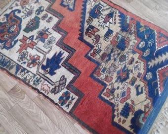 Turkish Vintage Oushak Rug,Handmade Office Decorative Carpet,86x106cm,Area Rug,Oushak Floor Rugs,Home living,Rugs,
