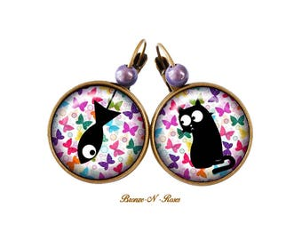 Black cat and fish multicolored Butterfly costume jewelry earrings