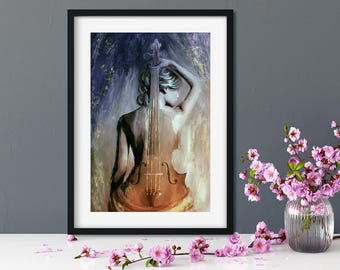Girl With Naked Back Wall Art Nude Erotic Art Erotic Wall Art Female Nude Print Female Nude Sexy Art Print Instant Download Best Selling