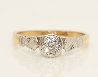 Vintage 18Ct Gold & Platinum 0.15Ct Solitaire Diamond Engagement Ring, Size N