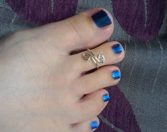 Silver plated adjustable double spiral toe ring