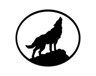 Wolf Howling Oval Animal Graphics SVG Dxf EPS Png Cdr Ai Pdf Vector Art Clipart instant download Digital Cut Print File Cricut Decal