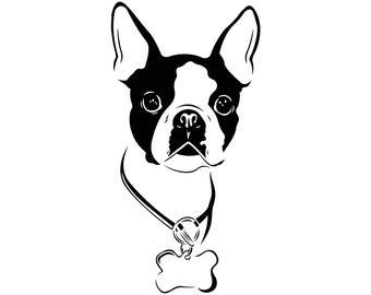 Boston Terrier Dog Graphics SVG Dxf EPS Png Cdr Ai Pdf Vector Art Clipart instant download Digital Cut Print File Cricut Silhouette Shirt