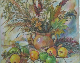 Watercolor painting, still life with fruit, still life with watercolor,Picture for kitchen 42х42cm Razumeyko Ekaterina