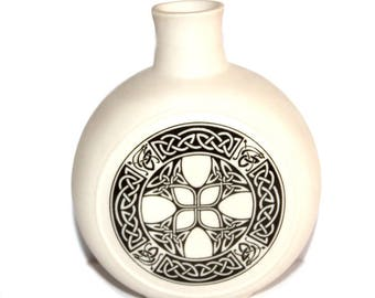 Vintage Porcelain Celtic Knot Design Bottle/ Flask/Vase. Celtic Art. Horizon Porcelain. Made in Scotland. Celtic Knot. Bottle. Vase. Flask.