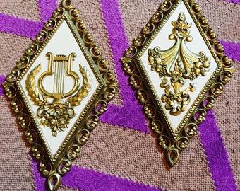 Vintage Homco  diamond shape wall plaques