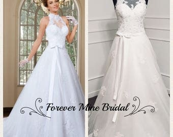 Two Piece High Neck Wedding Dress With Removable Skirt