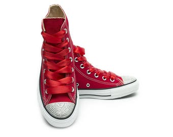 Converse Red High topwith Swarovski Crystals
