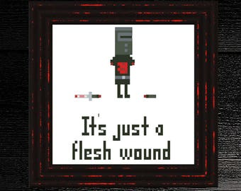 Black Knight: It's Just a Flesh Wound | Monty Python inspired Subversive Cross Stitch Part 3 of 5
