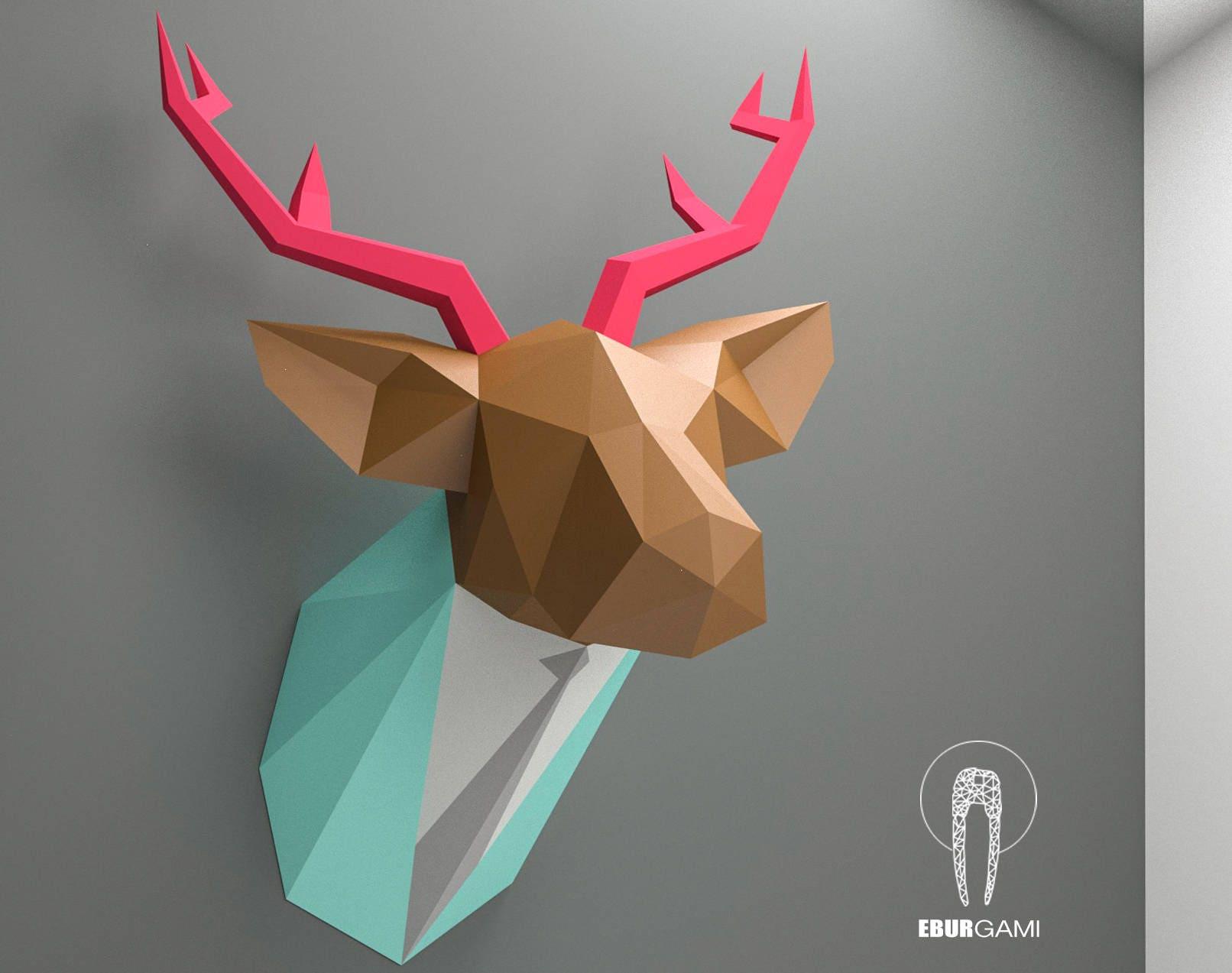 papercraft deer head paper trophy paper animal head paper. Black Bedroom Furniture Sets. Home Design Ideas