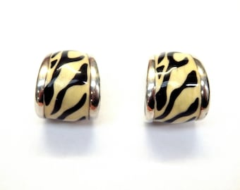 Sterling Silver Snazzy Zebra Enamel Earrings