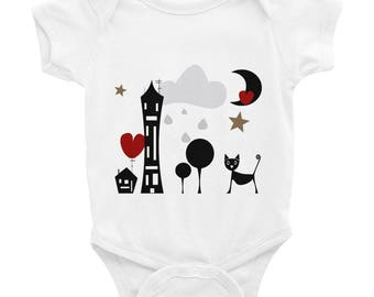 Baby Bodysuit Vest, Baby Clothes, Newborn Baby, Unisex Baby, Long-Sleeved Vest, Baby-grow, Baby Long Sleeve Body, Baby Gift - Cute Cat
