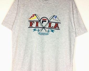 Rare !!! Vintage FILA Olympiad Tshirt Spellout Big Logo Shirt Size M