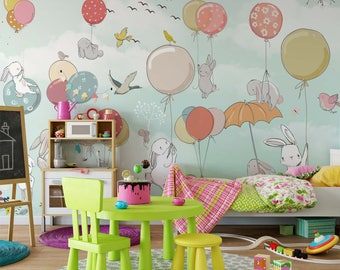 bunny with balloons kids wallpaper baby boys and girls nursery wallpaper removable peel