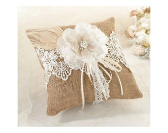 Shabby Chic ring bearer pillow burlap