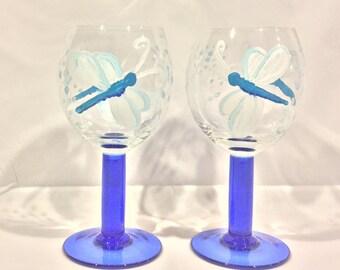 Dragonfly Wine Glasses, Hand Painted Wine Glasses, Blue Stem Glasses, Dragonflies, Drinkware, Barware, Home Decor, Gift